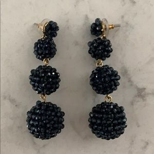 J. Crew Navy Beaded Drop Earrings